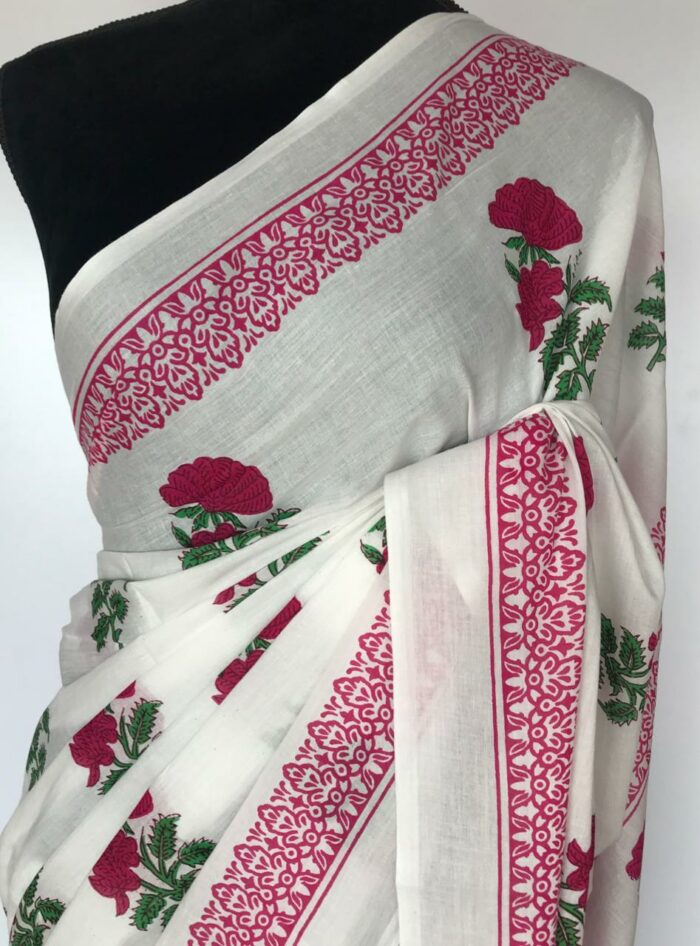 New White Mul Cotton Saree with Hand Block Prints