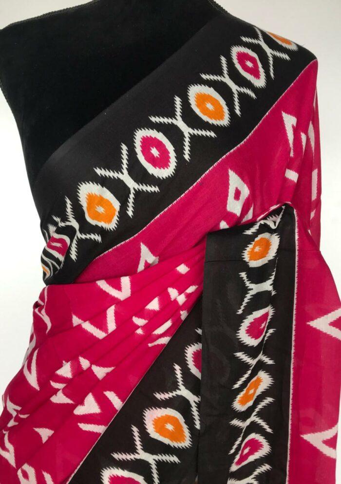 Pink Mul Cotton Saree with Hand Block Prints