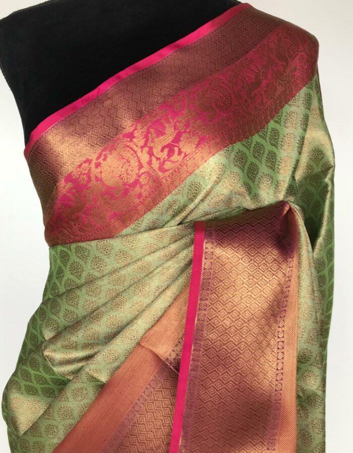 Sea Green Kora Silk Saree with Gold Zari Weaves