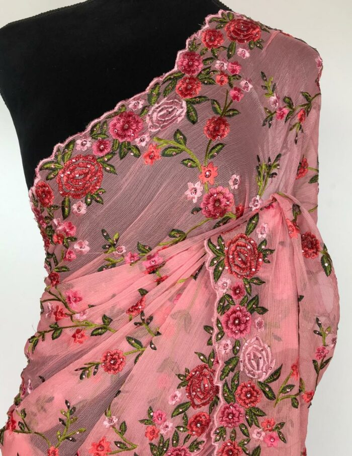 Pink Georgette Floral Embroidery saree