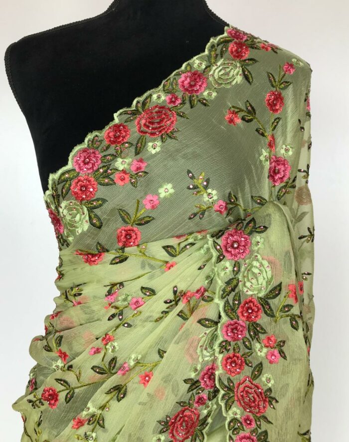 Green Georgette Saree with Floral Embroidery