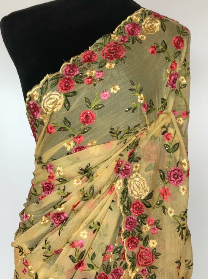 Yellow Georgette Saree with Floral Embroidery