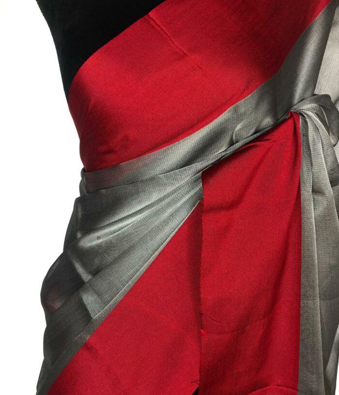 Red Silver Tissue Silk Saree
