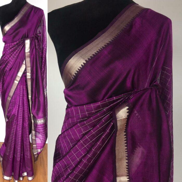 Magenta Mangalagiri Silk Saree with Silver Zari Checks