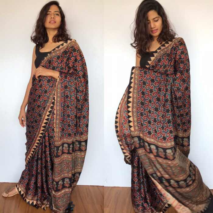 Brown Pure Modal Silk Saree with Ajrakh Hand Block Prints