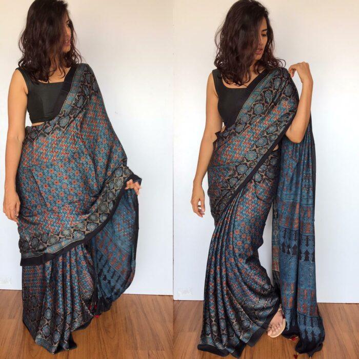 Blue Pure Ajrakh Modal Silk Saree with Ajrakh Hand Block Prints