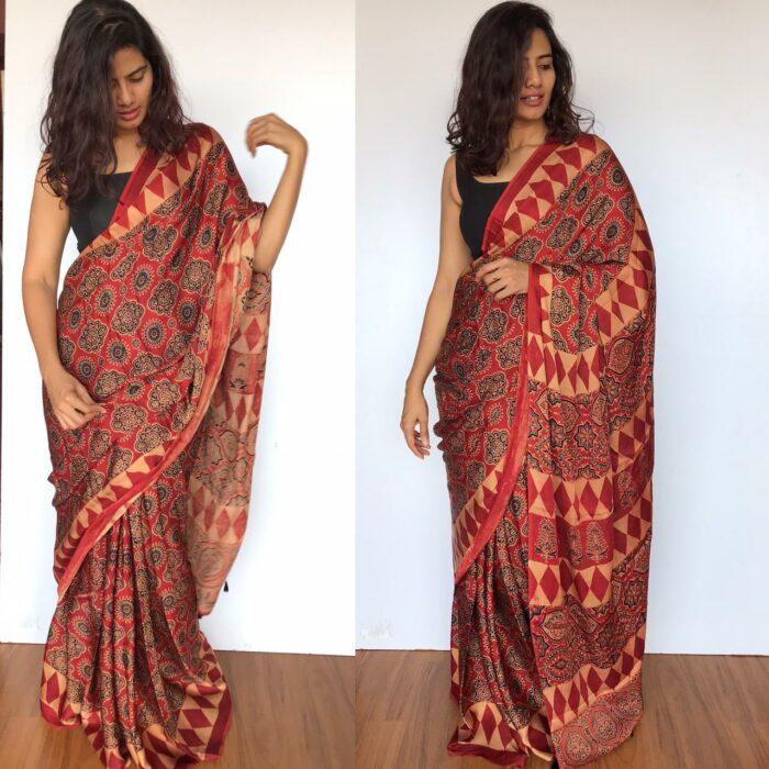 Dark Red Ajrakh Printed Modal silk saree