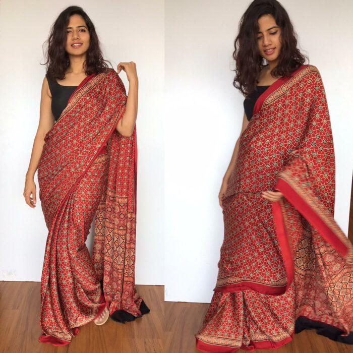 Dark Red Ajrakh Modal Silk Saree with Ajrakh Hand Block Prints