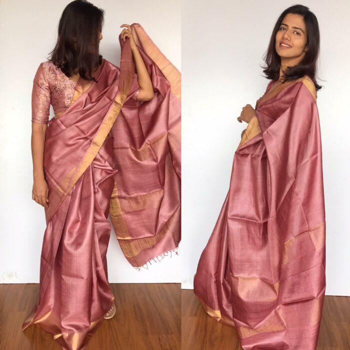 Onion Pink Pure Tussar Silk Saree