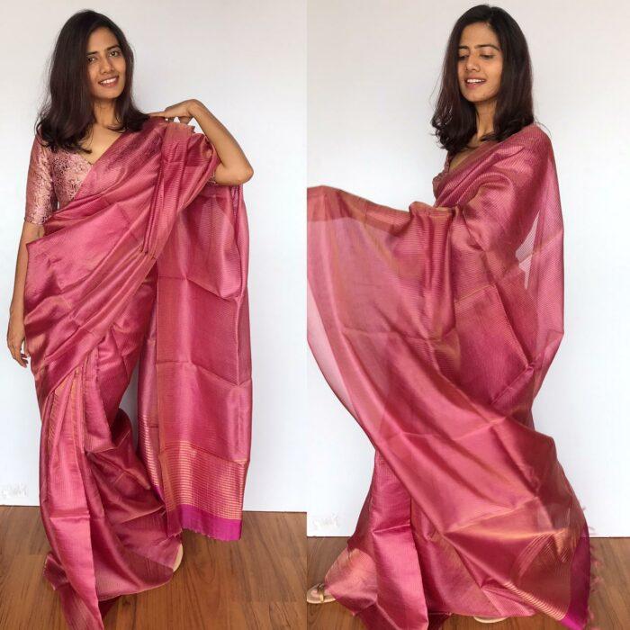 Pink Pure Tussar Silk Saree