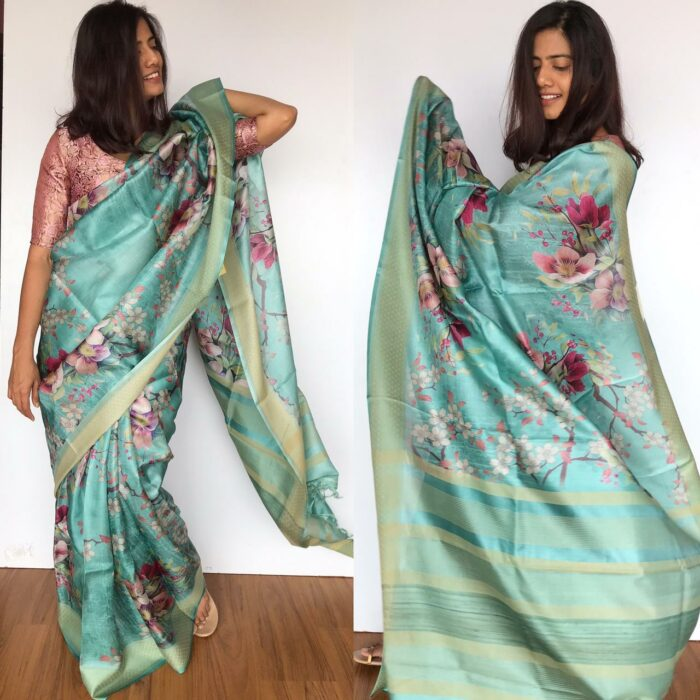 Blue Pure Tussar Silk Saree with Floral Prints