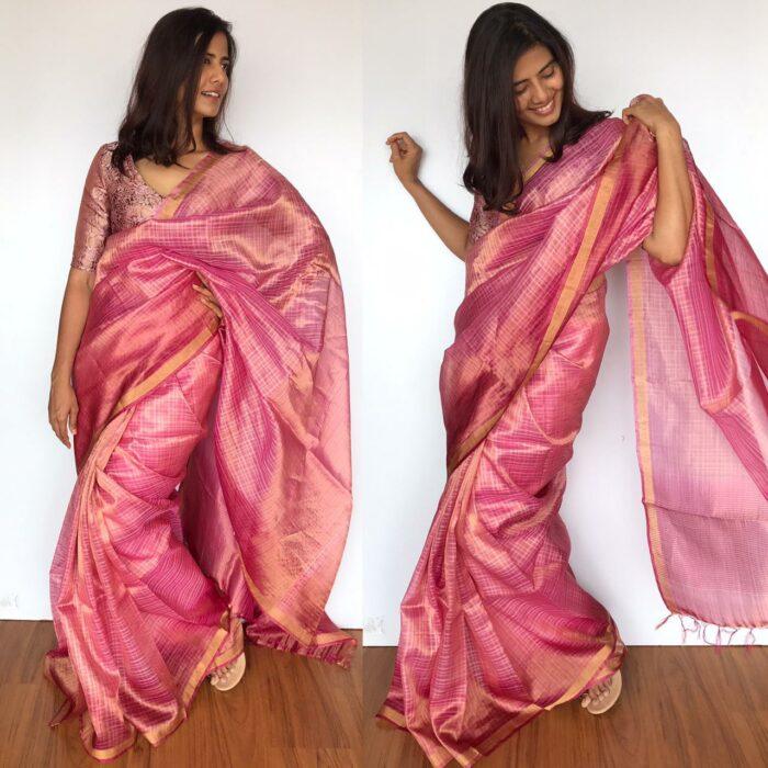 Pink Dual Shaded Pure Tussar Silk Saree