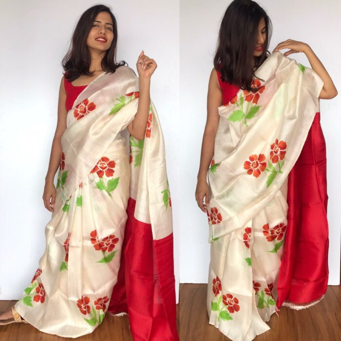 Offwhite Pure Silk Saree with Printed Florals