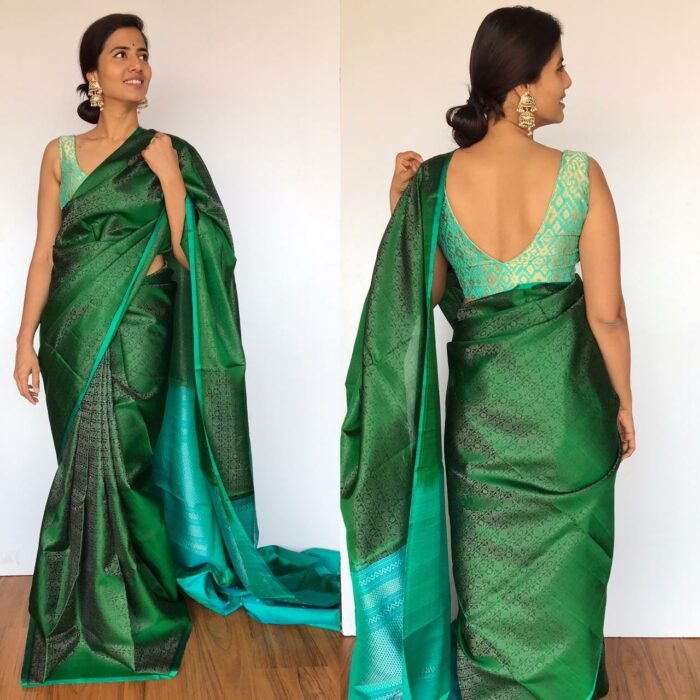 Bottle Green Kanjivaram Silk Saree with Silver Zari Brocade Weaves