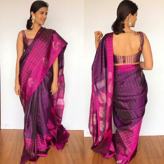 Purple Kanchivaram Silk Saree with Handwoven Silver Zari Weaves