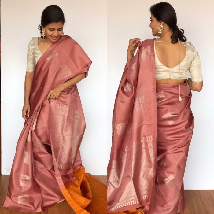Pastel Peach Kanjivaram Silk Saree with Handwoven Silver Zari Motifs Weaves
