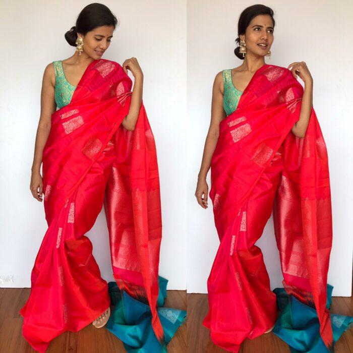 Peachy Red Kanjivaram Silk Saree with Handwoven Silver Zari Motifs Weaves