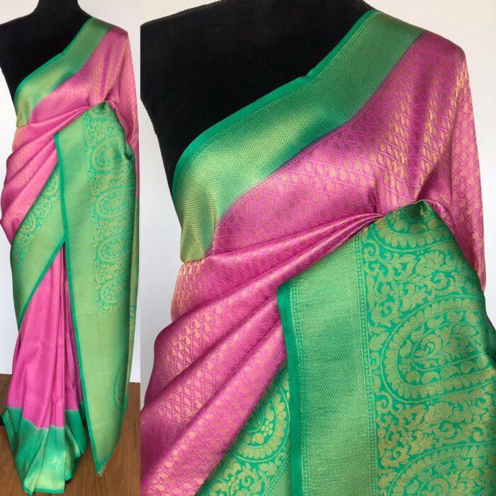 Creamy Pink Banarasi Silk Saree with Gold Zari Weaves