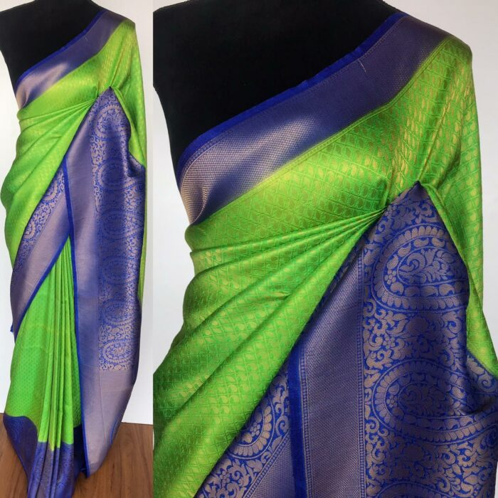 Green Banarasi Silk Saree with Gold Zari Weaves
