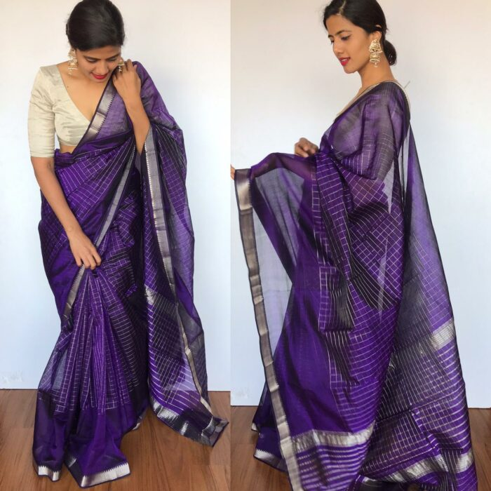 Purple Mangalagiri Silk Saree with Silver Zari Checks