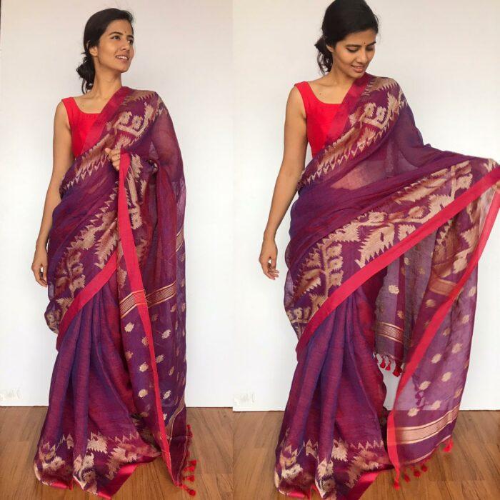 Purple Linen Jamdani Saree