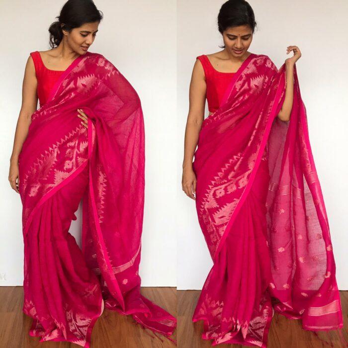 Hot Pink Linen Jamdani Saree