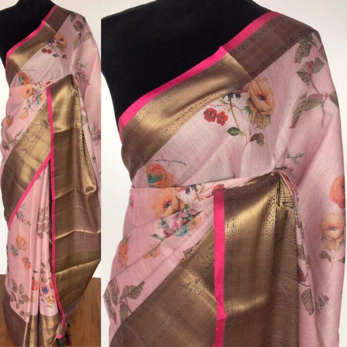 Baby Pink Tissue Silk Saree with Printed Florals