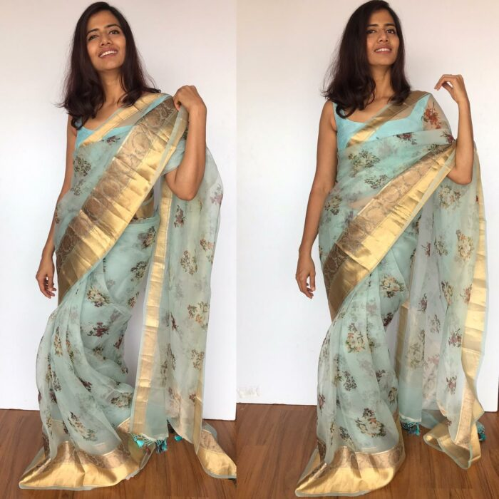 Baby Blue Pure Organza Saree with Gold Zari Weaves