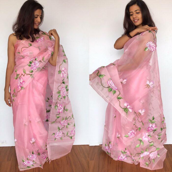 Baby Pink Hand Painted Organza Silk Saree