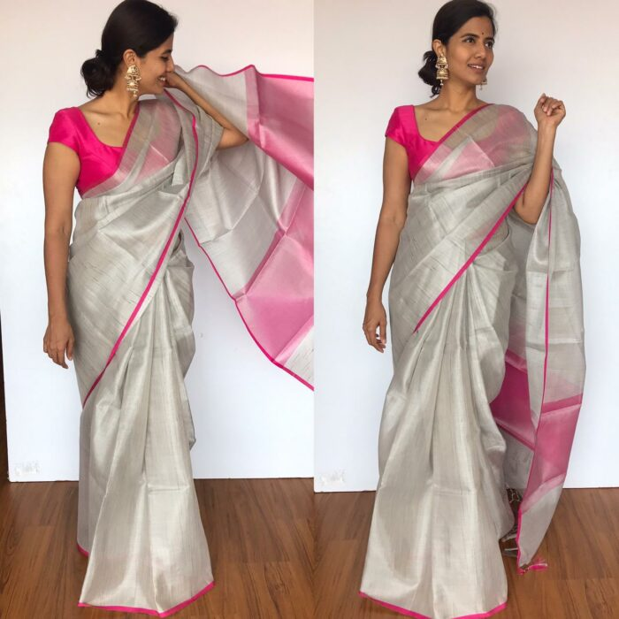 Silver Tissue Silk Saree with Pink Piping