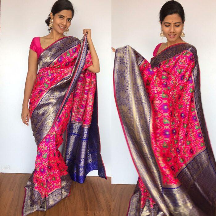 Pink Banarasi Silk Saree with Beautiful Patola Weaves