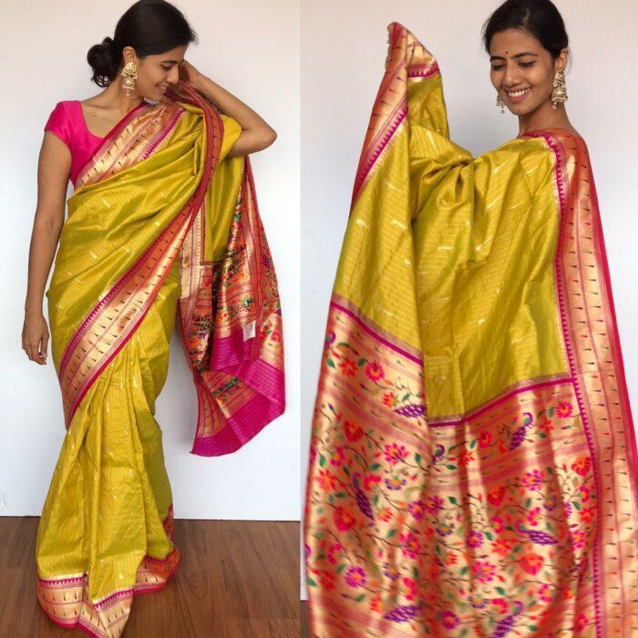 Green Banarasi Silk Saree with Beautiful Paithani Weaves
