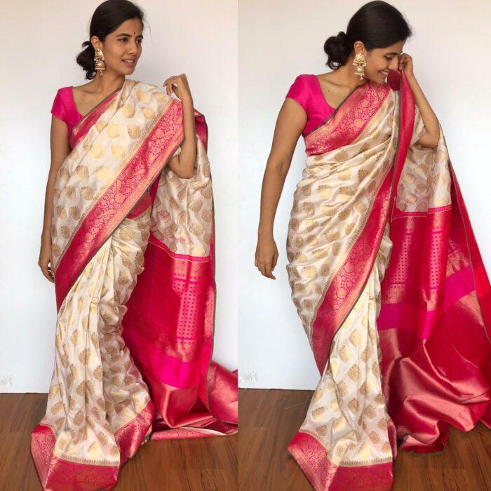 Offwhite Banarasi Silk Saree with Beautiful Gold Zari Woven Buttas