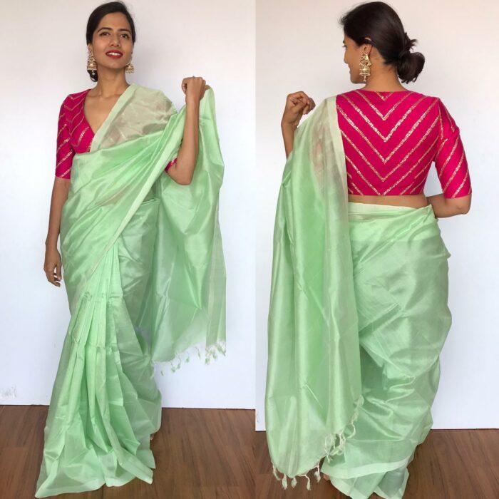 Mint Green Pure Mangalagiri Silk Saree