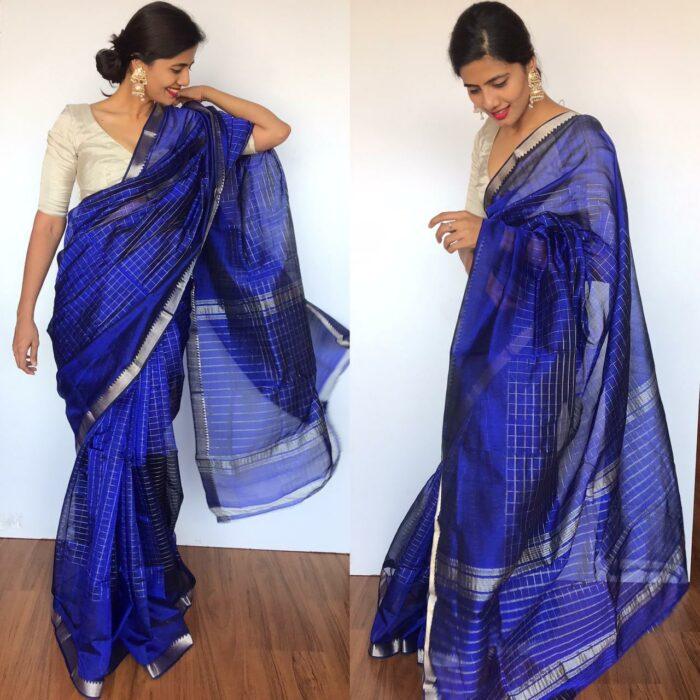 Royal Blue Mangalagiri Silk Saree with Silver Zari Checks