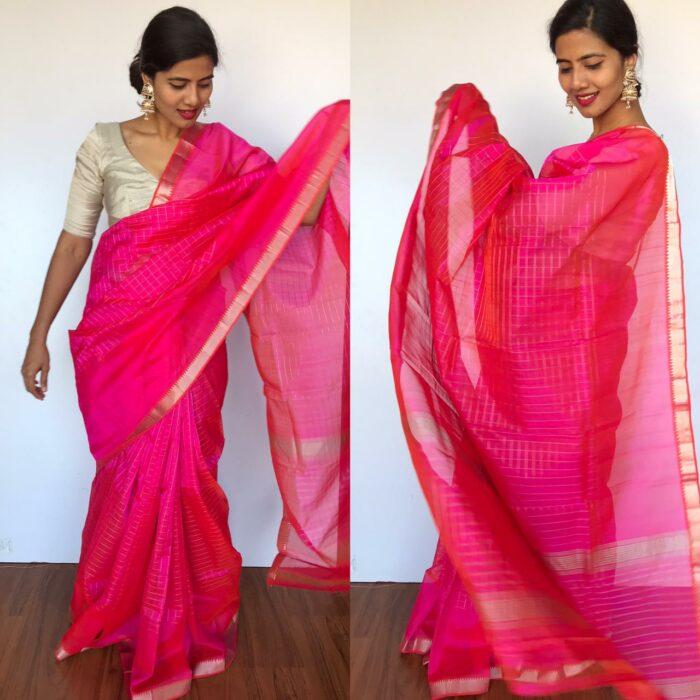 Rani Pink Mangalagiri Silk Saree with Silver Zari Checks