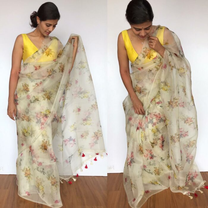 Latest Pure Offwhite floral printed Organza saree
