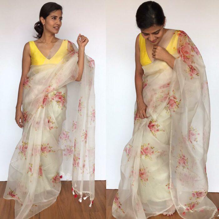 Pure Offwhite Floral Printed organza saree