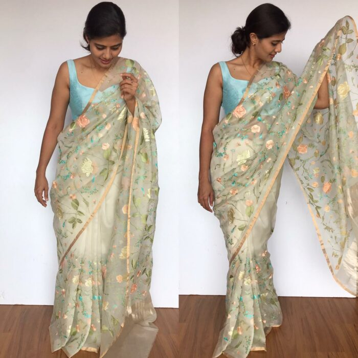 Offwhite Pure Organza Saree with Beautiful Floral Embroidery