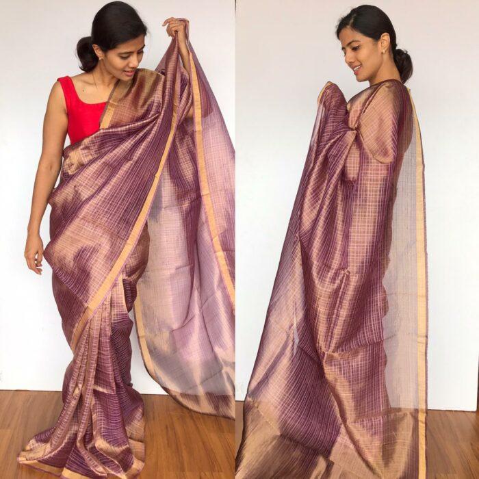 Lilac Pure Tussar Silk Saree in dual shade with Tissue Silk Zari Weaves