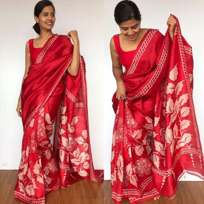 Scarlet Red Pure Silk Saree with Hand Painted Florals