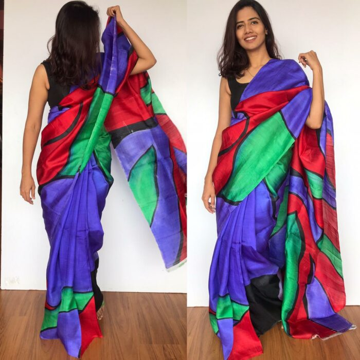 Hand painted Multicolored Pure Silk Saree