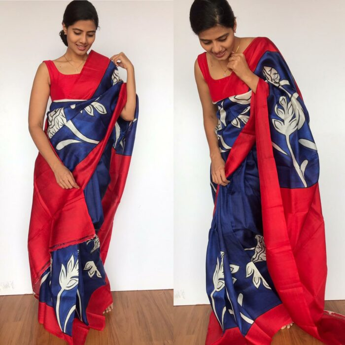 Royal Blue Pure Silk Saree with Hand Painted Florals