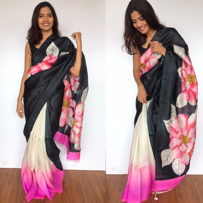 Black Pure Silk Saree with Hand Painted Florals
