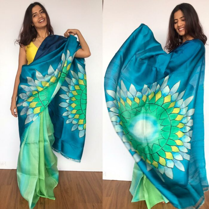 Blue Pure Silk Saree with Hand Painted Florals