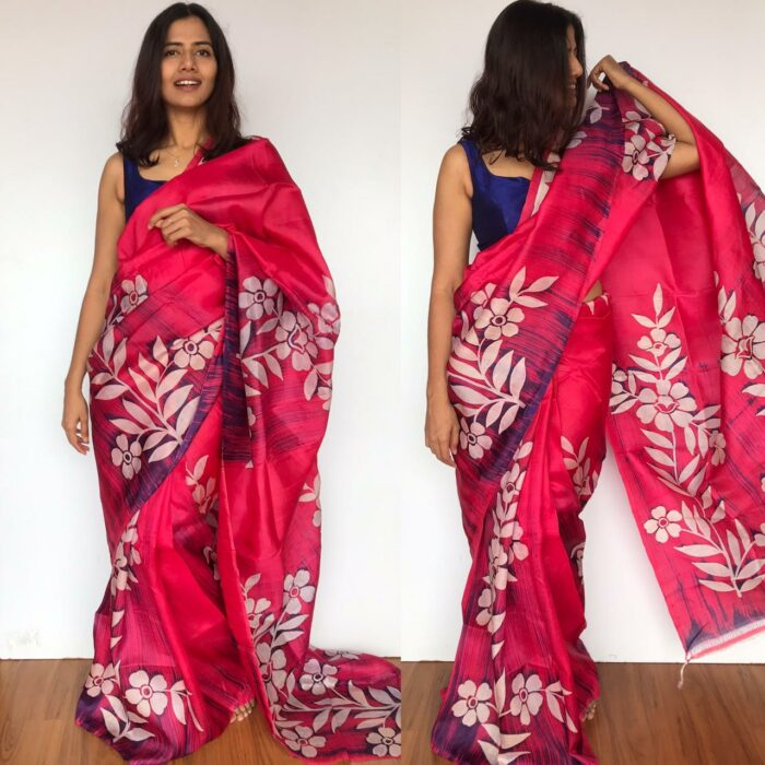 Pink Pure Silk Saree with Hand Painted Florals
