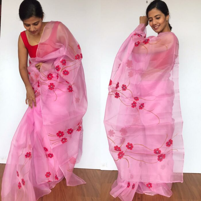 Pink Handpainted Organza Saree