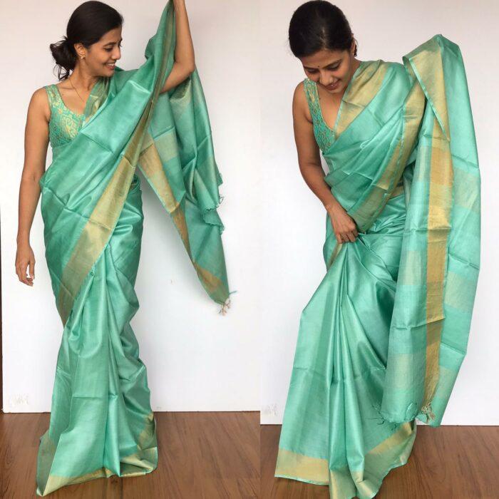 Mint Pure Tussar Silk Saree