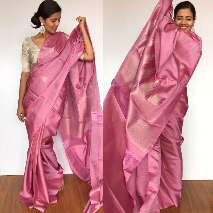 Onion Pink Kanjivaram Silk Saree with Silver Zari Weaves