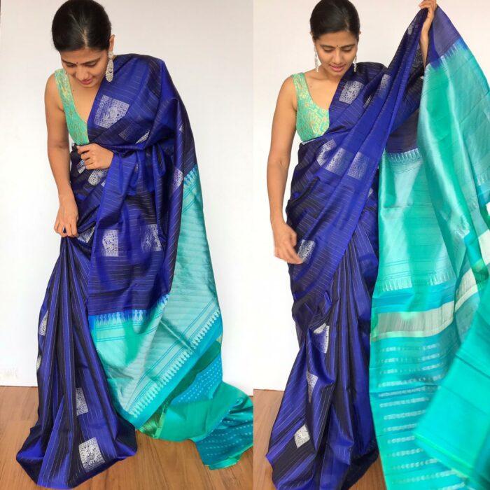 Royal Blue Kanjivaram Silk Saree with Silver Zari Weaves